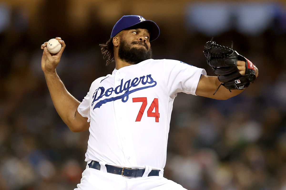 Kenley Jansen of the Los Angeles Dodgers pitches against the San Francisco Giants during the ninth inning in Game 3 of the National League Division Series at Dodger Stadium on October 11, 2021 in Los Angeles, California.