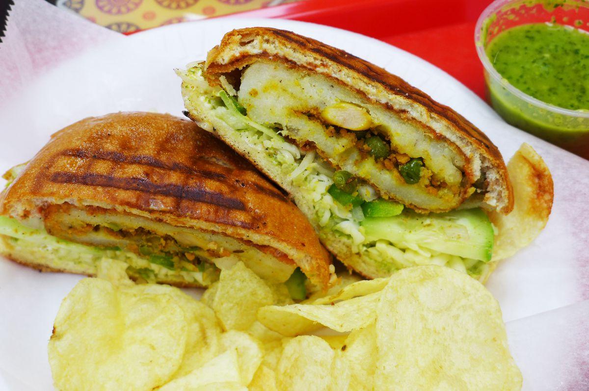 Alu tikka burger, with potato chips
