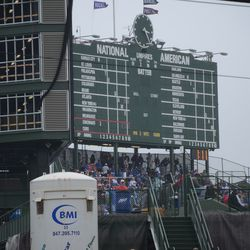 3:25 p.m. The view of the scoreboard from down Waveland Avenue -