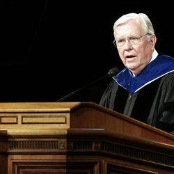 Elder M. Russell Ballard speaks during BYU's summer commencement exercises at the Marriott Center in Provo on Thursday.