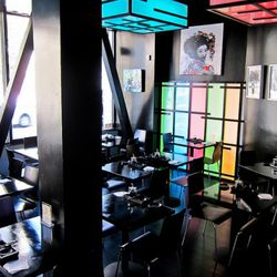 LED-lit shoji screens in the corner of the 30-seat dining area