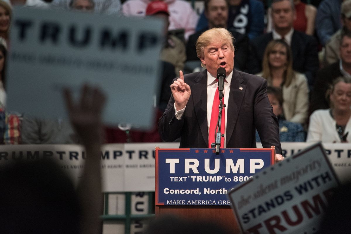 Republican presidential candidate Donald Trump addresses the crowd at a campaign rally on March 7, 2016, in Concord, North Carolina.