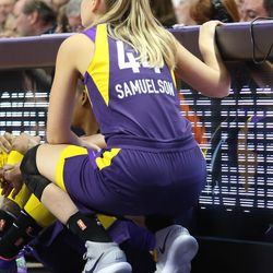 The Los Angeles Sparks take on the Connecticut Sun in a WNBA game at Mohegan Sun Arena on May 24, 2018.