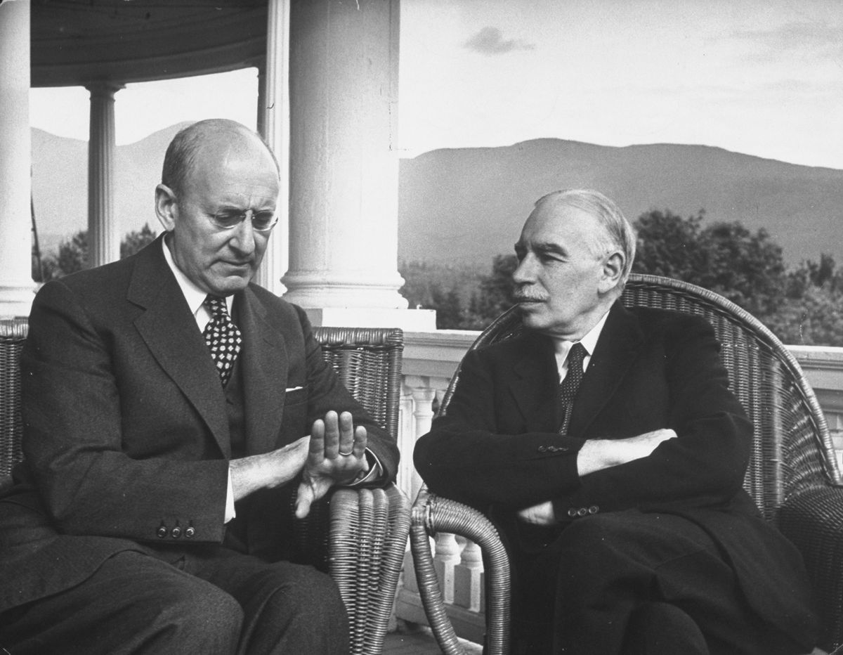 Then-US Treasury Secretary Henry Morgenthau Jr. and British economist John Maynard Keynes conferring during international monetary conference to plan for postwar reconstruction.
