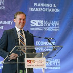 Salt Lake County Mayor Ben McAdams talks at the Metro Solutions conference at the South Towne Expo Center in Sandy on Thursday, June 8, 2017.