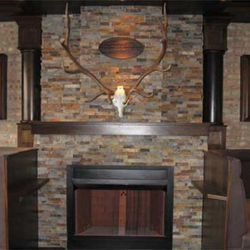 Authentic elk antlers above the fireplace