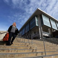 Heather Hirsche walks at the University of Utah in Salt Lake City on Friday, Jan. 22, 2016. Legislation might help her gain access to Medicaid.