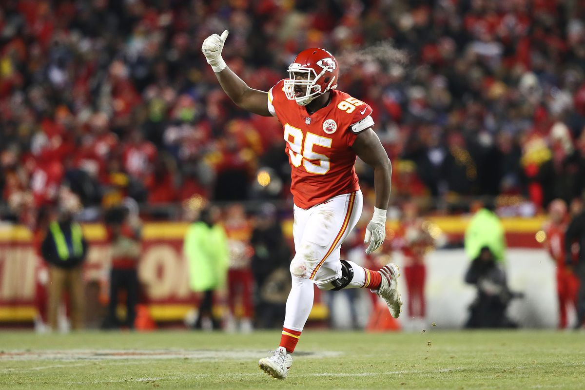 Chris Jones of the Kansas City Chiefs celebrates in the second half against the New England Patriots during the AFC Championship Game at Arrowhead Stadium on January 20, 2019 in Kansas City, Missouri.