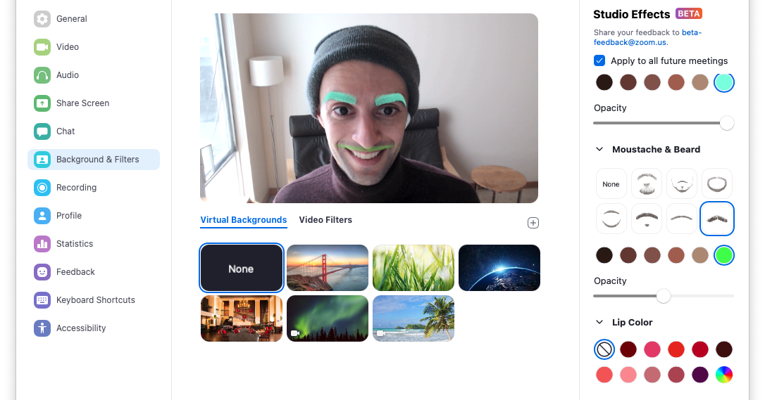 Zoom adds facial effects so you can look your weirdest during meetings - The Verge