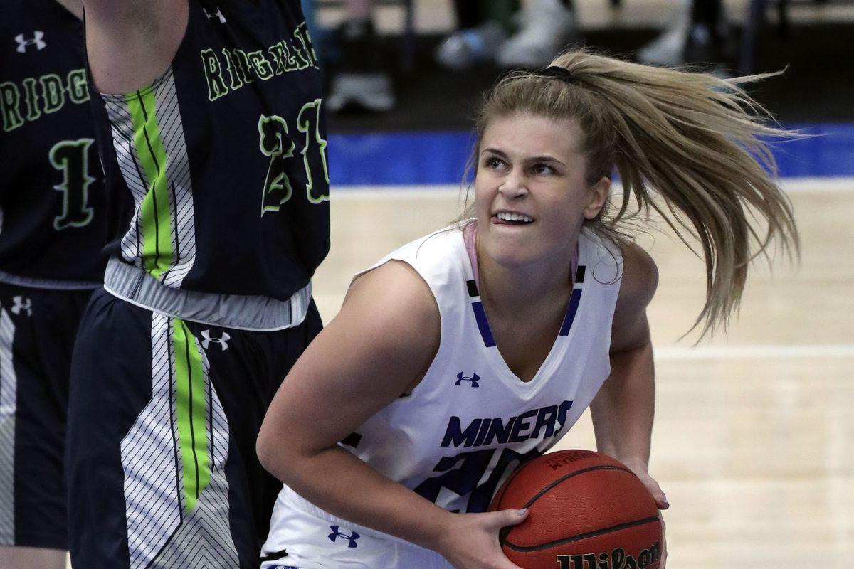 Bingham's Sierra Lichtie gets ready to shoot during a girls basketball game against Ridgeline at Bingham High School in South Jordan on Friday, Dec. 4, 2020. Bingham won 37-32