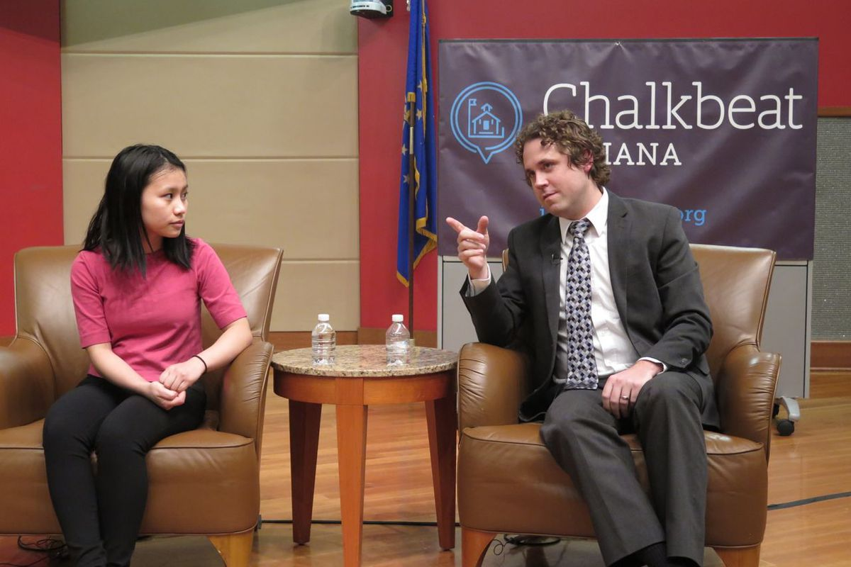 Charlie Geier of the Indiana Department of Education and Southport High School Student Elly Mawi speak on a panel hosted by Chalkbeat and WFYI at the Indianapolis Public Library.