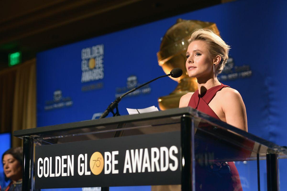 Kristen Bell speaks during the Golden Globes nominations