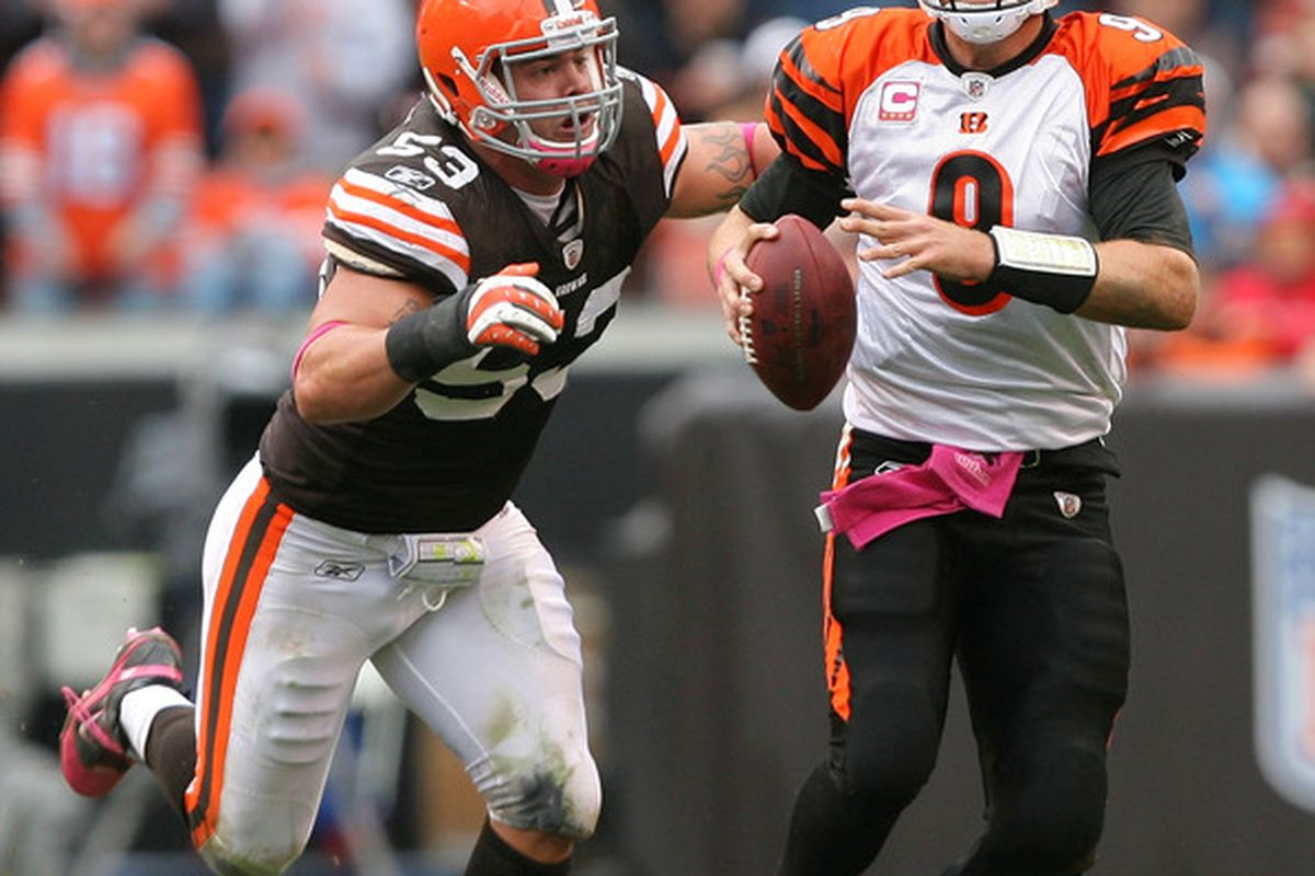 CLEVELAND - OCTOBER 03:  Matt Roth #53 of the Cleveland Browns sacks quarterback Carson Palmer #9 of the Cincinnati Bengals at Cleveland Browns Stadium on October 3 2010 in Cleveland Ohio.  (Photo by Matt Sullivan/Getty Images)