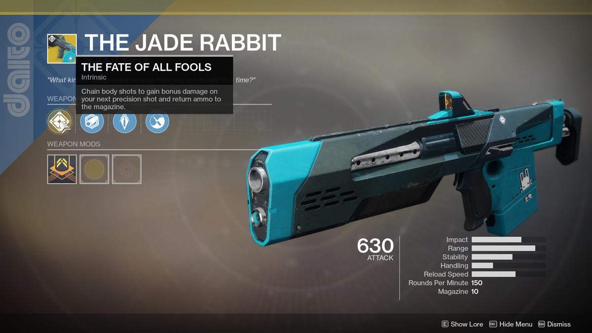 The Jade Rabbit Exotic Destiny 2