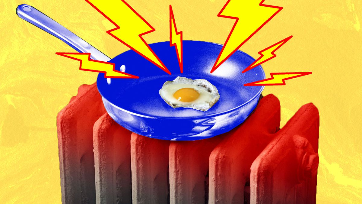 A photoillustration of an egg frying in a pan, with lightning bolts.