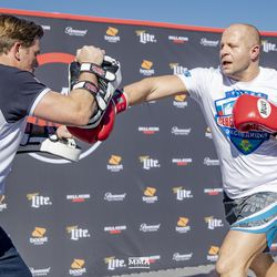 Fedor Emelianenko at the Bellator 214 open workouts at Viacom Hollywood HQ in Hollywood, Calif.