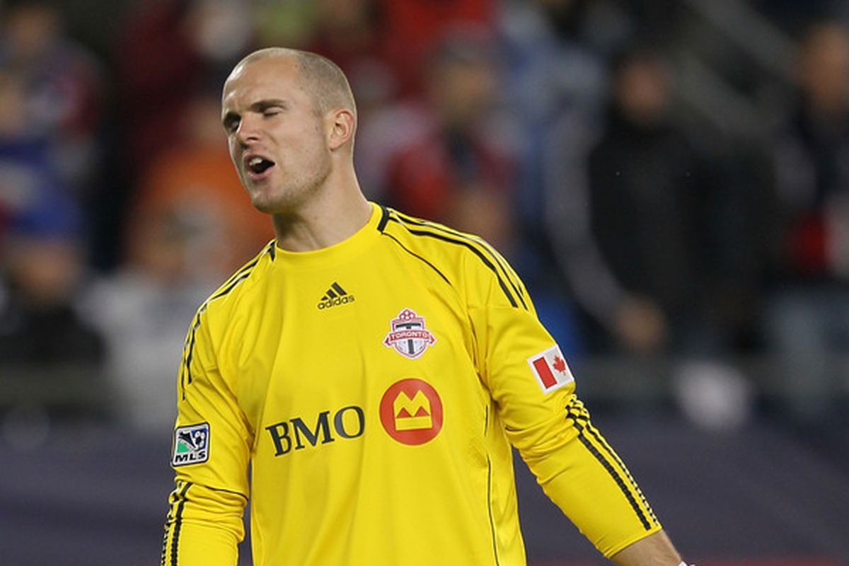 This picture looked like it was sad enough to describe the season that Frei had in 2012.  Injured again, dang!