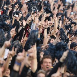 Utah State Aggies fans cheer in Logan on Friday, Oct. 1, 2021.
