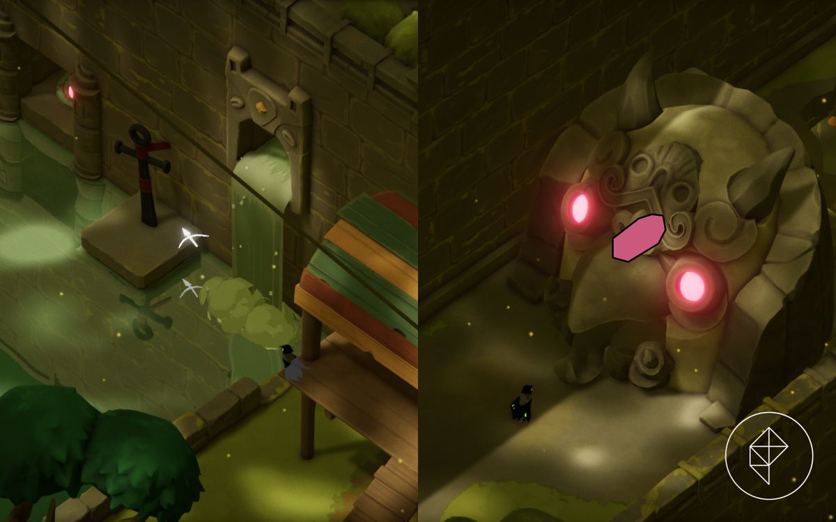 A split image showing a hookshot anchor in water on the left and a magic shrine on the right.