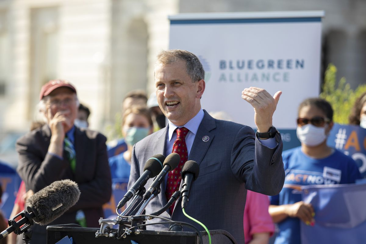 U.S. Rep. Sean Casten, D-Ill., discusses the infrastructure bill during a news conference on Capitol Hill on Aug. 23.