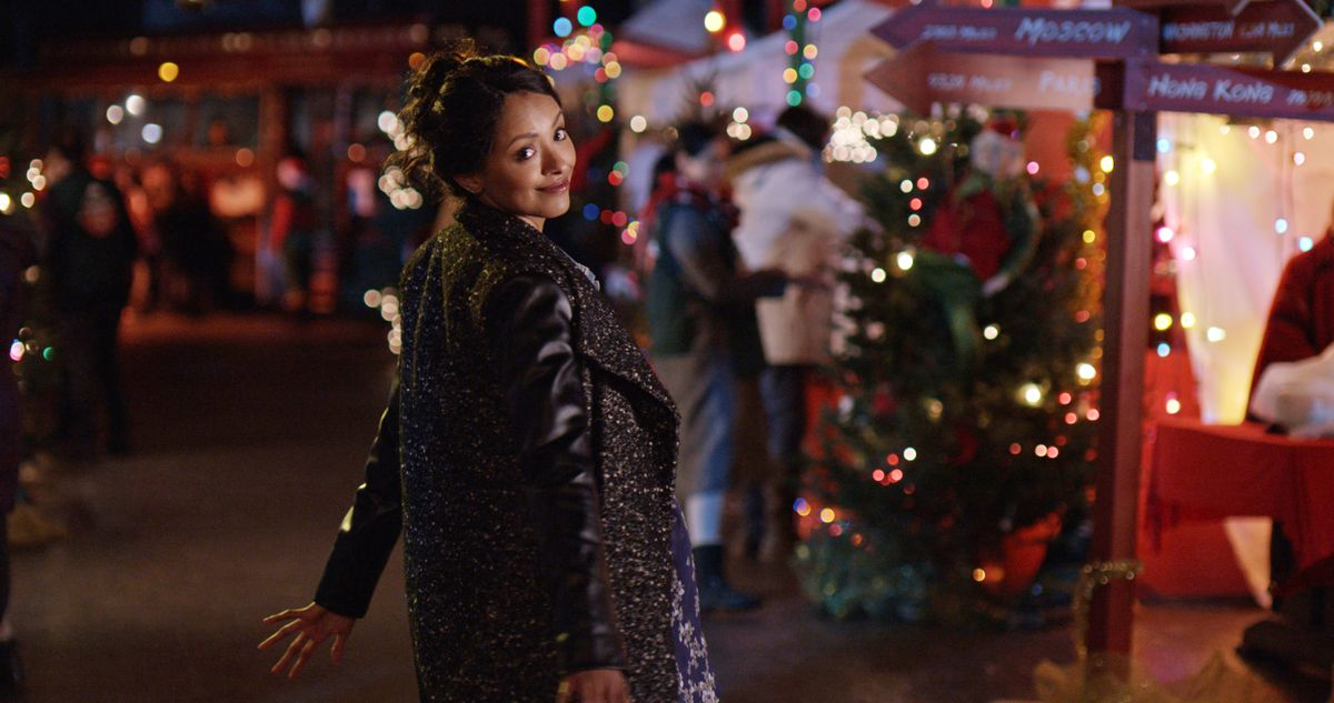Kat Graham dances in a holiday village in Holiday Calendar