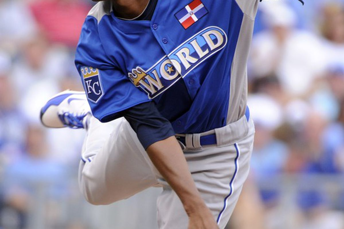 July 8, 2012; Kansas City, MO, USA; World pitcher Yordano Ventura follows through on a pitch during the first inning of the 2012 All Star Futures Game at Kauffman Stadium.  Mandatory Credit: H. Darr Beiser-USA TODAY Sports via US PRESSWIRE
