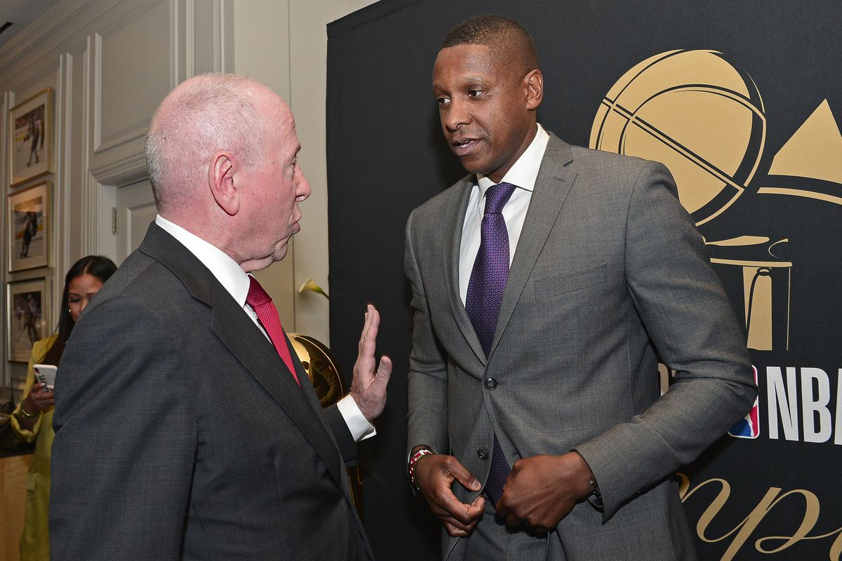 Chairmane MLSE, Larry Tanenbaum talks with President Masai Ujiri of the Toronto Raptors before the game against the New Orleans Pelicans on October 22, 2019 at the Scotiabank Arena in Toronto, Ontario, Canada.