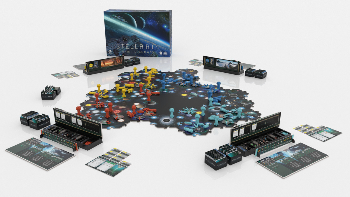 A render of the game board, organized as a single galaxy and after the game has been underway for some time.