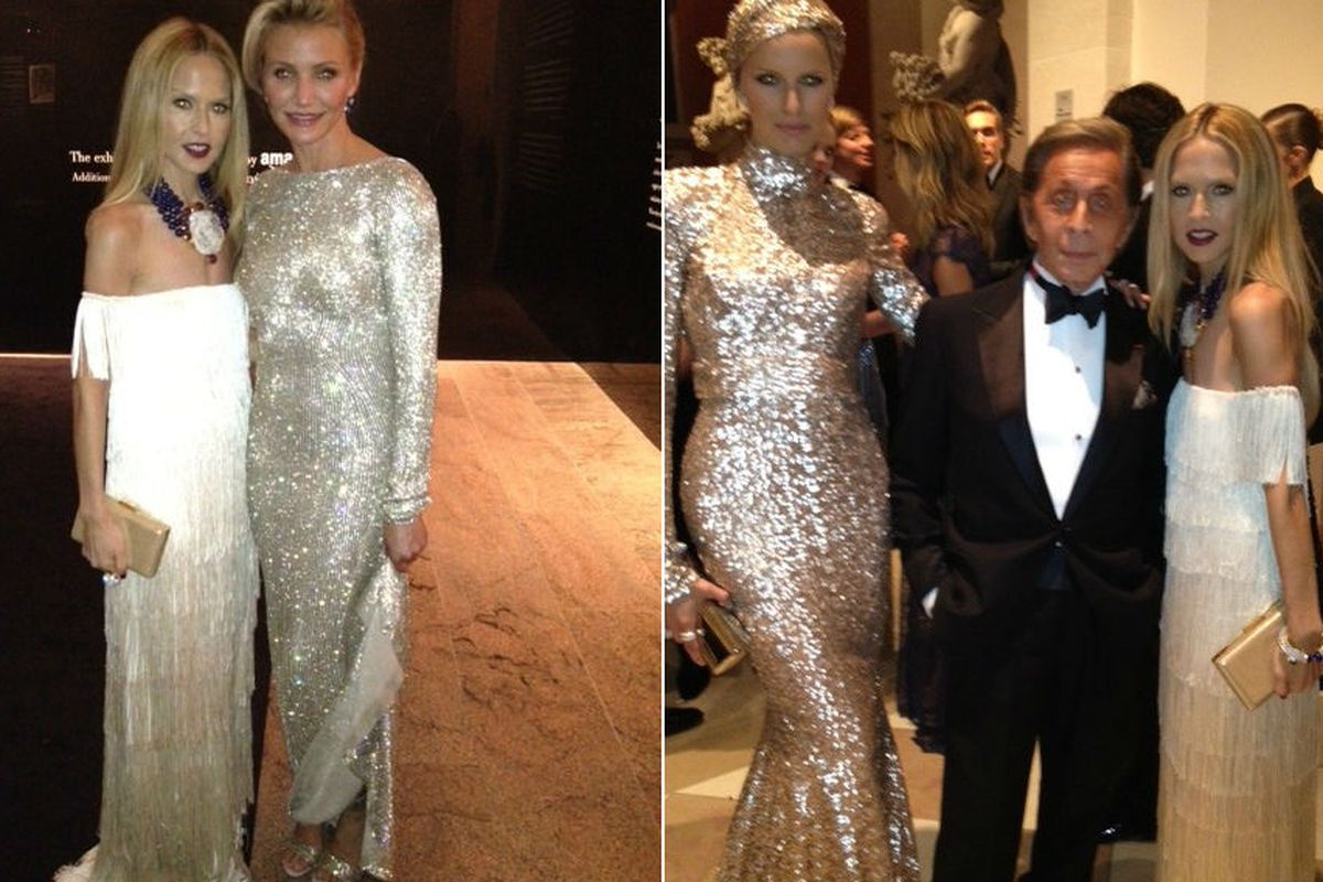 """Rachel Zoe with Cameron Diaz, left; with model Karolina Kurkova and Valentino, right. Photos via <a href=""""http://pics.rachelzoe.com/in-case-you-missed-my-photos-from-last-nights"""">The Zoe Report</a>; click to expand."""