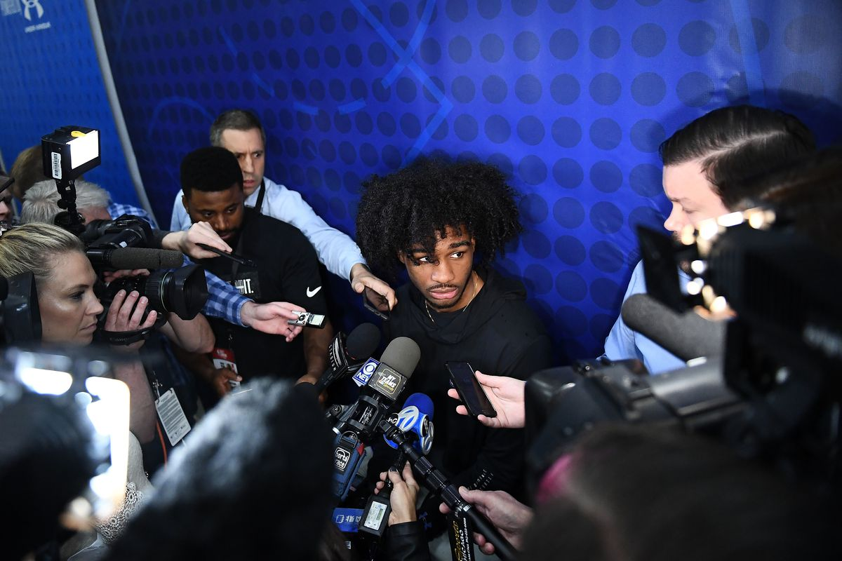 Coby White speaks with the media during Day 1 of the NBA Draft Combine at Quest Multisport Complex.