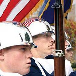 BYU Air Force ROTC cadets Bryant McCarty, Daniel Jenson, Robert Fonnesbeck and Jonathan Bright drill for Veteran's Day events.