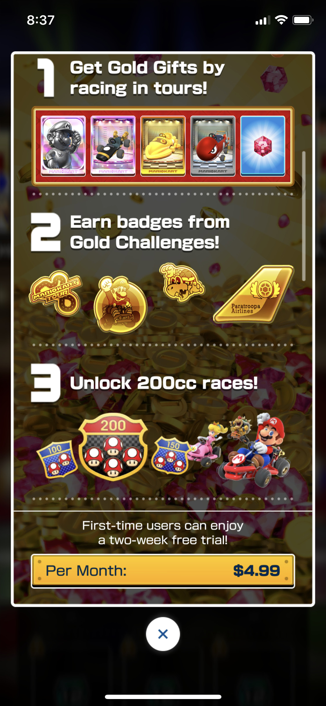 An on-screen in-game description of Mario Kart Tour's Gold Pass which includes Gold Gifts, Gold Badges, and the 200cc mode.