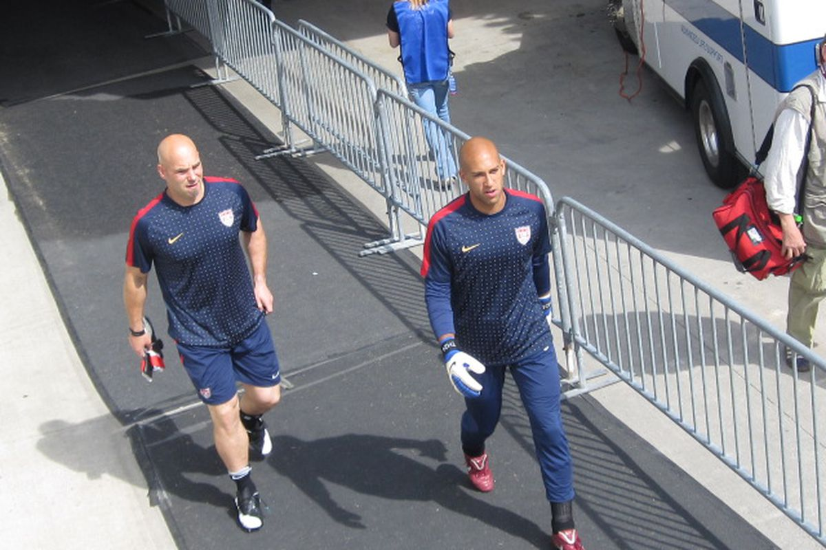 Tim Howard (seen here before the Spain friendly): when the midfield is overrun and a makeshift back line continually exposed, it's gonna be a long night.  So it proved.