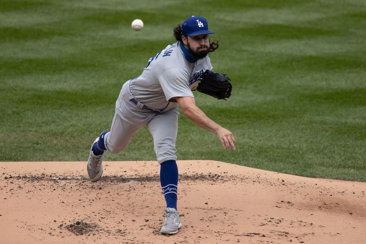 Los Angeles Dodgers starting pitcher Tony Gonsolin (46) pitches in the first inning against the Colorado Rockies at Coors Field.