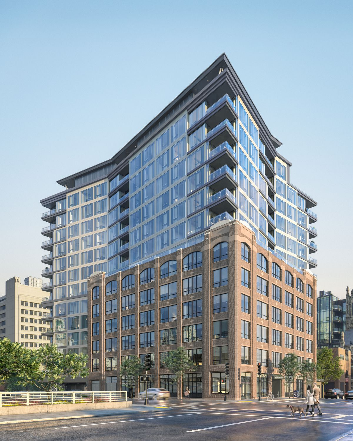 Rendering of a 13-story, mostly glass, squarish building.