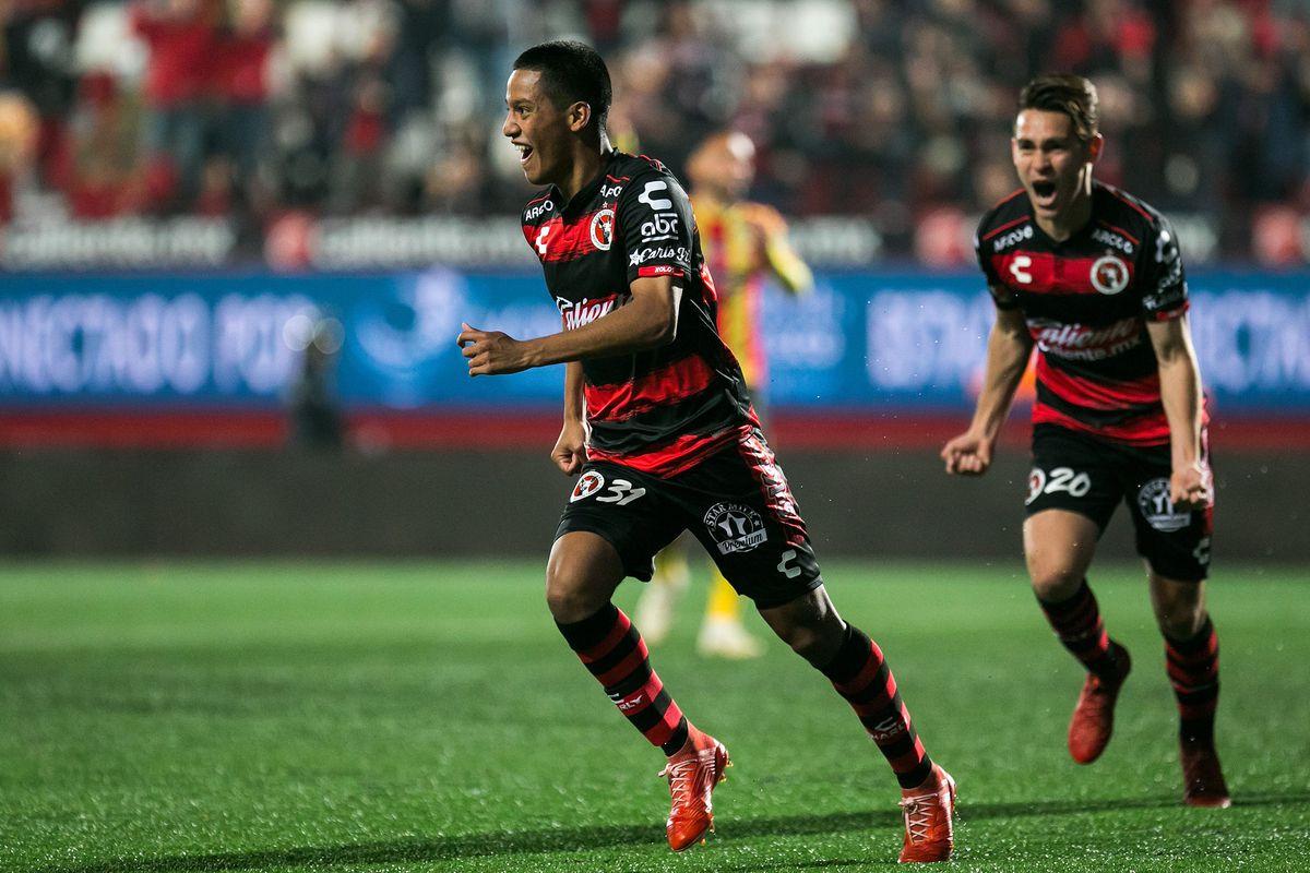 Antonio Nava celebrates after scoring his first Liga MX goal for Tijuana.