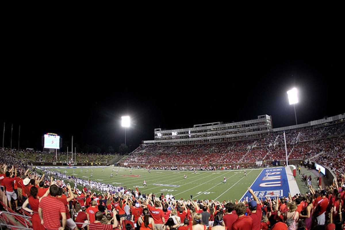 DALLAS - SEPTEMBER 24:  A general view of play between the TCU Horned Frogs and the SMU Mustangs at Gerald J. Ford Stadium on September 24 2010 in Dallas Texas.  (Photo by Ronald Martinez/Getty Images)