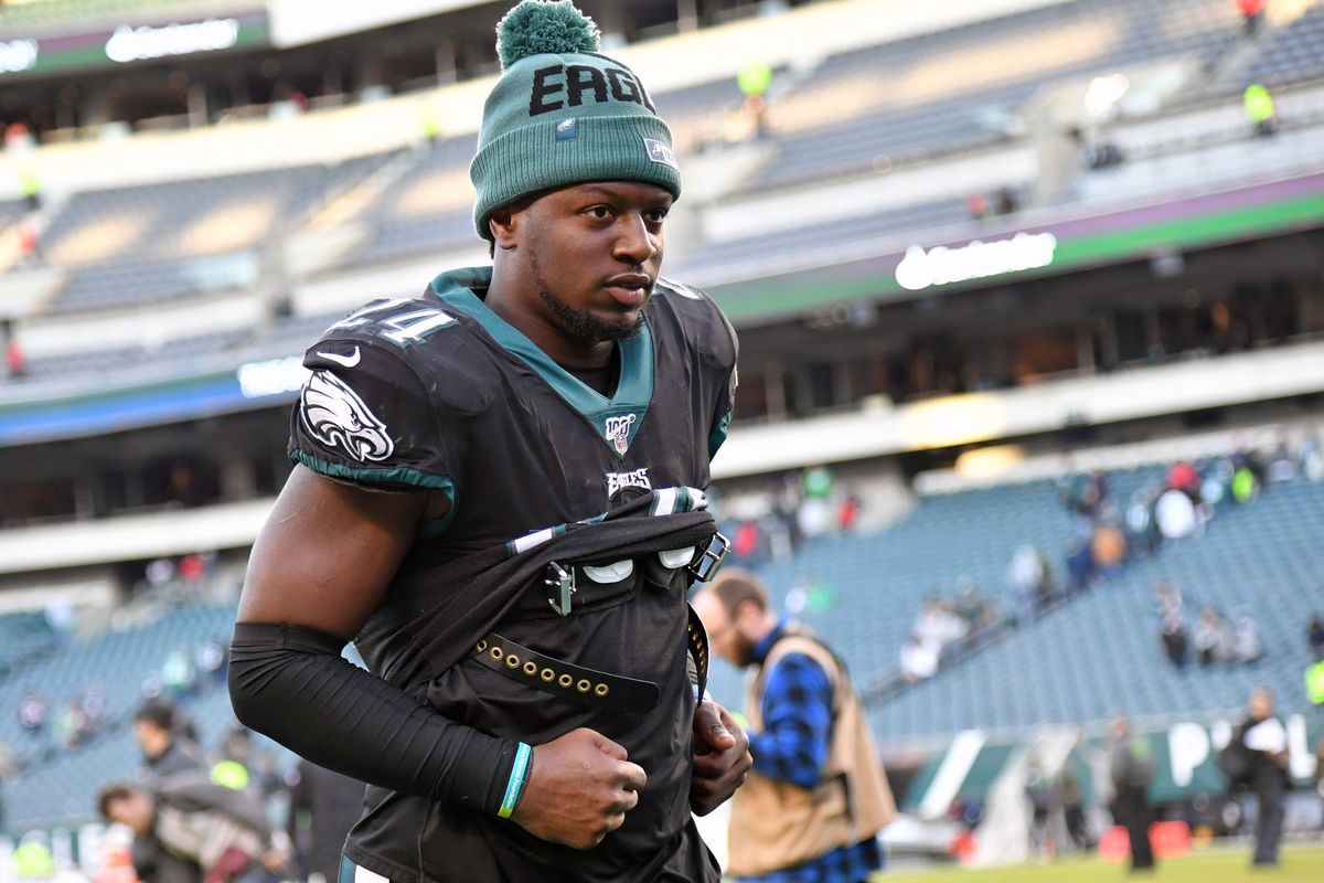 Philadelphia Eagles running back Jordan Howard runs off the field after win against the Chicago Bears at Lincoln Financial Field.