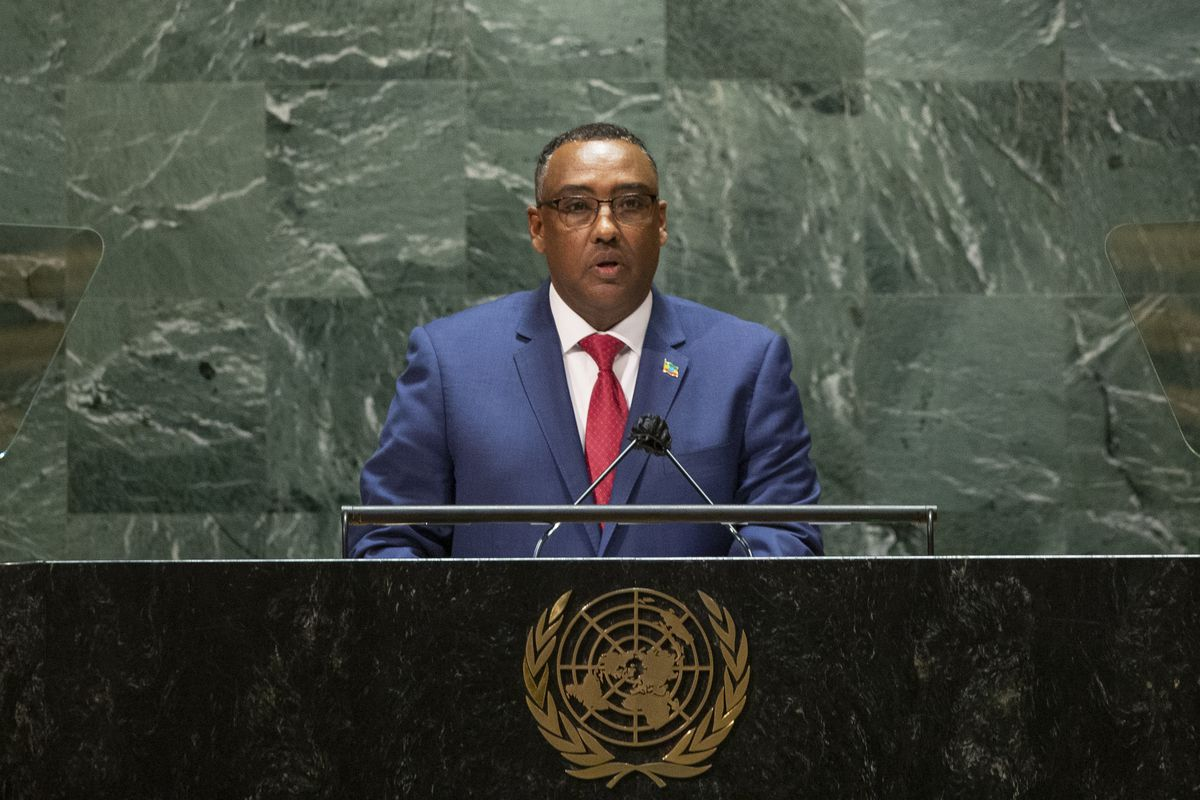 In this Saturday, Sept. 25, 2021 file photo, Ethiopia's Deputy Prime Minister and Minister of Foreign Affairs Demeke Mekonnen Hassen addresses the 76th session of the United Nations General Assembly at U.N. headquarters.