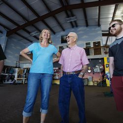 Judy Ashcroft, left, Debb Harris, Wendell Ashcroft and Jason Ashcroft stand in the airplane hangar at Skydive Ogden while waiting for their turn to skydive in Ogden on Saturday, Aug. 5, 2017.