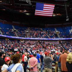 The upper section of the arena is seen partially empty as US President Donald Trump speaks during a campaign rally at the BOK Center on June 20, 2020 in Tulsa, Oklahoma.