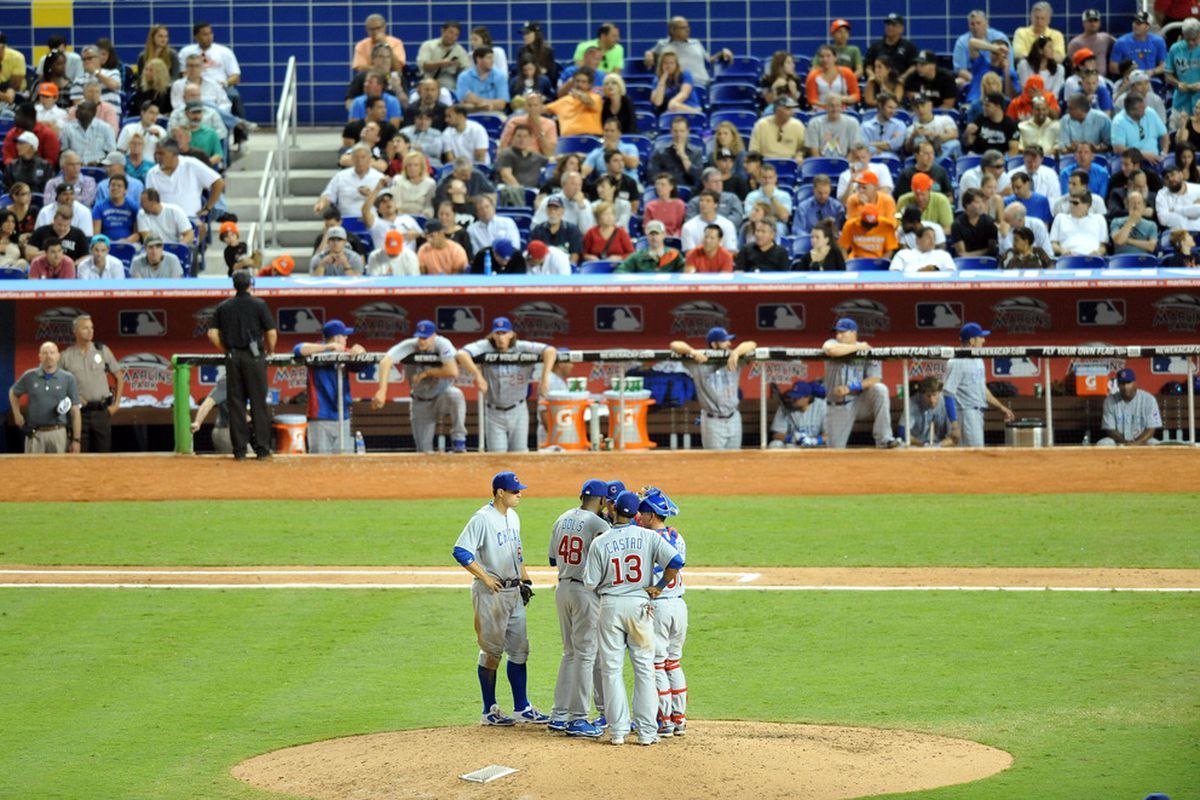 Miami, FL, USA; A familiar 2012 scene: Chicago Cubs pitcher Rafael Dolis meets with teammates on the mound during the seventh inning against the Miami Marlins at Marlins Park. Credit: Steve Mitchell-US PRESSWIRE