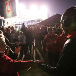 The Utah Utes arrive before the game against the Colorado Buffaloes at Rice-Eccles Stadium in Salt Lake City on Saturday, Nov. 25, 2017.