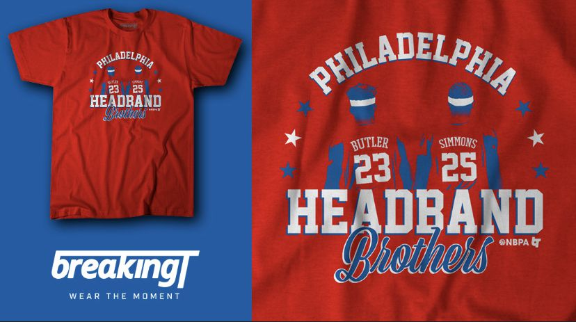 huge selection of 3b6b4 73e46 Ben Simmons and Jimmy Butler Headband Brothers T-Shirt for ...