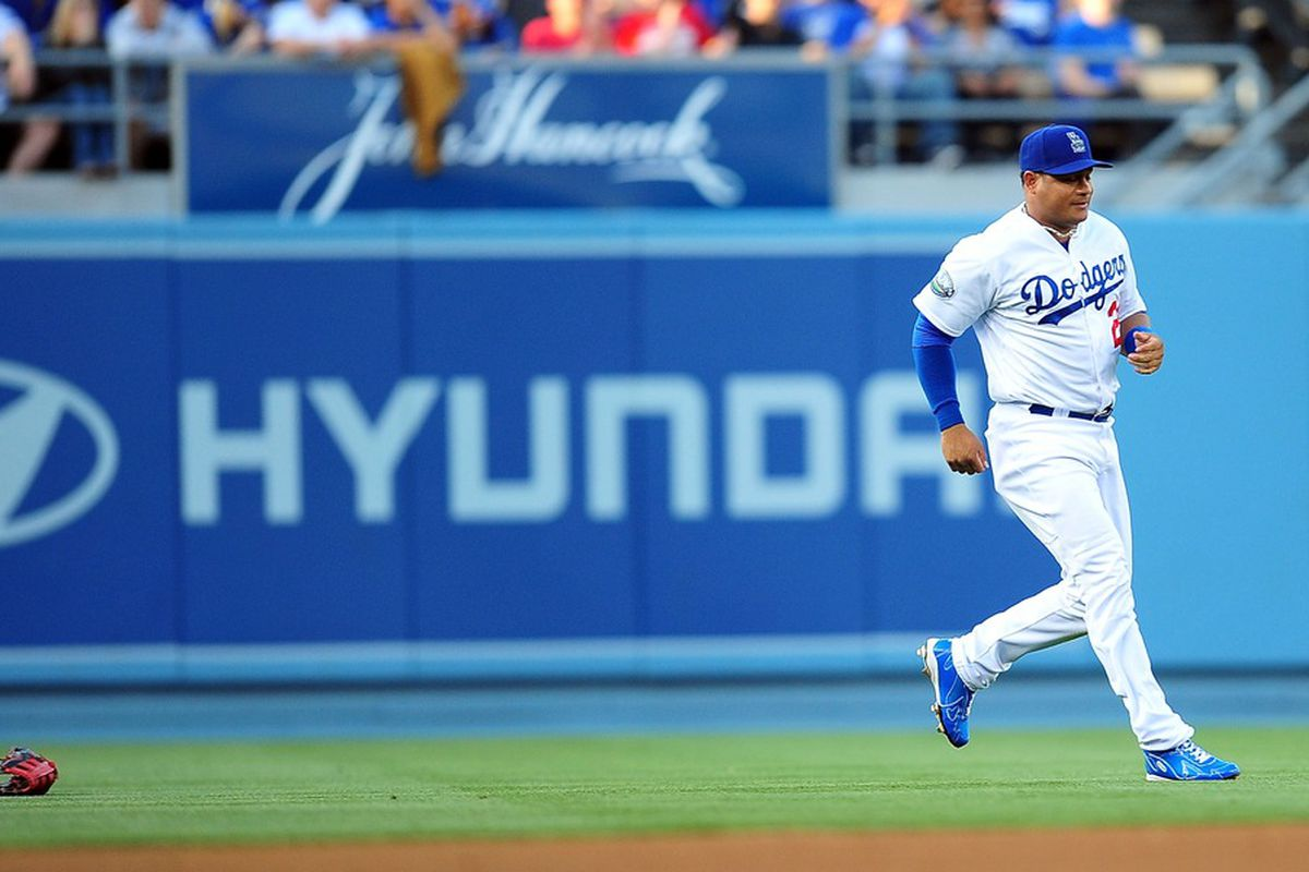 Bobby Abreu, and his glove, were designated for assignment by the Dodgers on Wednesday to make room for Shane Victorino on the active roster.