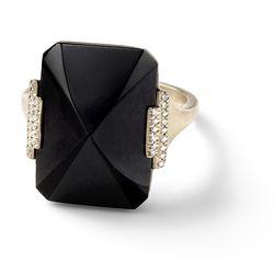 """Zacapa"" Black jade geometric pyramid ring with white diamond pavé side bars, 18 carat recycled white gold, 0.08 TCW $5,590"