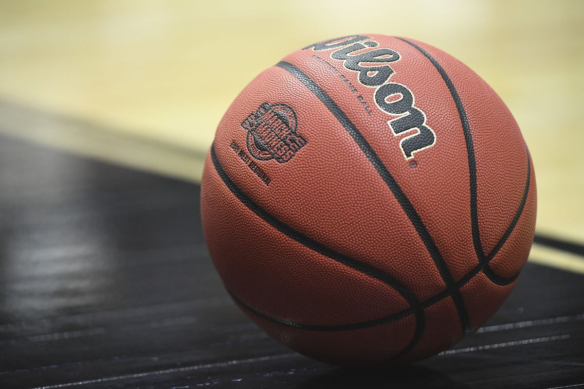 A detail view of the March Madness logo on a Wilson basketball during the game between the Gonzaga Bulldogs and the Florida State Seminoles in the third round of the 2019 NCAA Photos via Getty Images Men's Basketball Tournament held at Honda Center on March 28, 2019 in Anaheim, California.