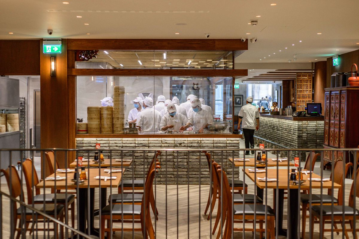 Xiaolongbao dumplings being prepared at Din Tai Fung's new London restaurant in Covent Garden