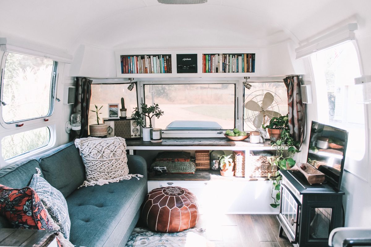 Airstream trailer renovation turns old rv into bohemian - Affordable interior design atlanta ...