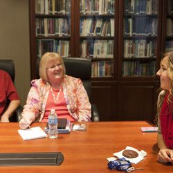 """Dean Wheelwright and Shauna Wheelright react to Olympic silver medalist Noelle Pikus-Pace during a small group discussion about Pace's new book, """"Focused: Keeping Your Life on Track, One Choice at a Time,"""" at Deseret Book corporate headquarters, Tuesday, Sept. 9, 2014."""